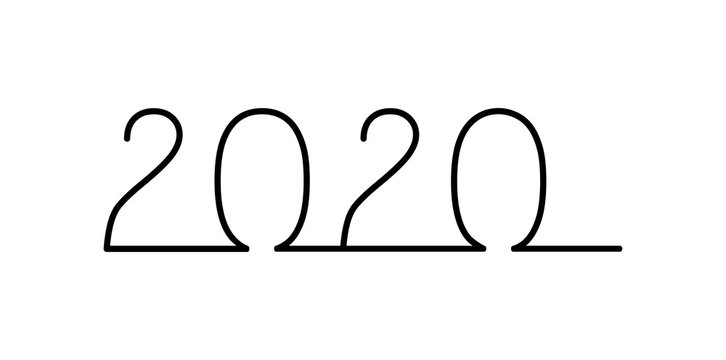 New year 2020 one line illustration on white.