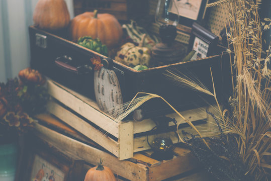 View of a showcase full of interesting old things for sale. Various vintage objects at a indoor flea market. Details of still life in the home vintage interior. Warm cosy autumn concept. Toned image.