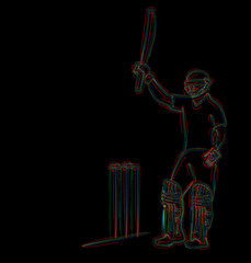 Concept of Batsman playing cricket & Celebrate century - championship, Line art design Vector illustration.