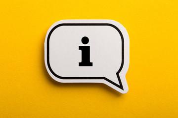 Obraz Information Sign Speech Bubble Isolated On Yellow Background - fototapety do salonu