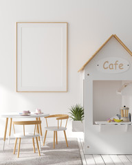 Mock up poster frame in children bedroom interior background, Scandinavian style, 3D render