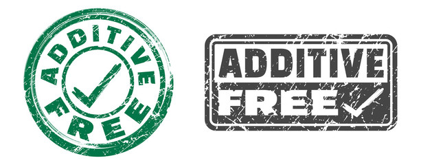 Additive free stamps in green and dark grey colors. Grunge texture. Vector illustration.