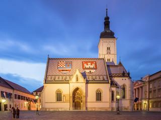 Fototapete - St. Marko's church in Zagreb at Dusk - Croatia