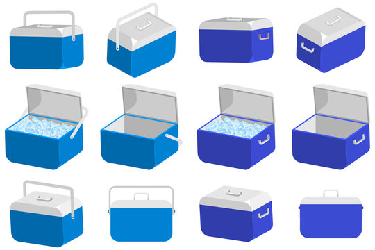 Ice cooler box vector cartoon set. Handheld camping refrigerator illustration isolated on a white background.