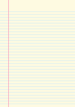 Yellow lined paper sheet with margin on left