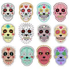 Set of sugar skulls illustrations. Design elements for poster, postcard, flyer, banner, print. Vector illustration