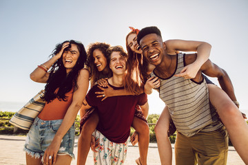Group of happy friends having fun together
