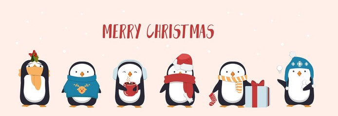Merry Christmas greeting card with cute penguin. Seasonal character penguins wearing hats, scarf and holding gifts and mugs. Flat greeting card or banner design. Vector illustration