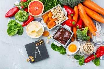 Fototapeta Balanced clean eating nutrition, food rich in vitamin a obraz
