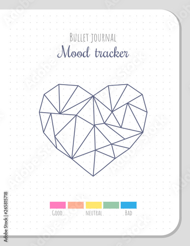 picture relating to Printable Mood Tracker named Temper tracker within just polygonal center form for 31 times of a thirty day period