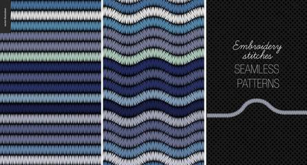Embroidery satin stitch seamless patterns - two textile patterns of satin stitch