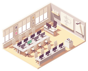 Vector isometric computer lab classroom