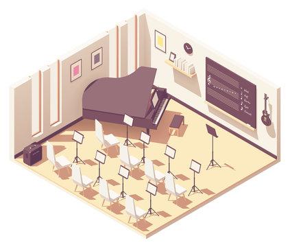 Vector isometric school music classroom