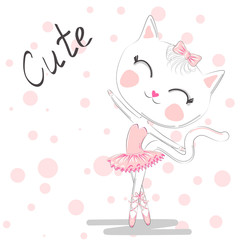 Hand Drawn Cute Cat, ballerina illustration, children print