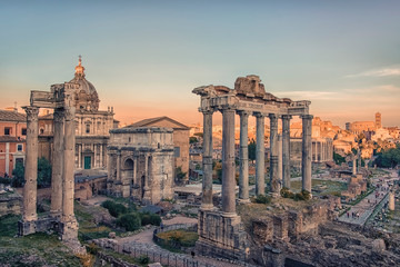 The Roman Forum in Rome at sunset