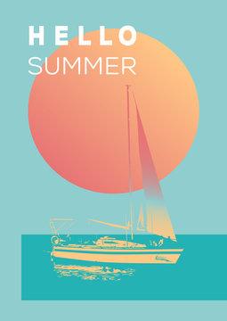Hello summer vector poster.