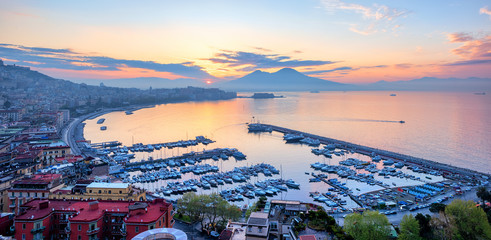 Panoramic view of Naples city, Italy, at sunrise