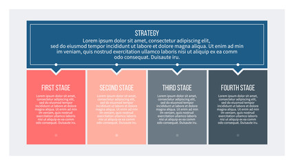 Business infographics with 4 steps, options. Vector banner.