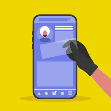 Personal data stealing. Social media. Thief. Conceptual illustration. Flat editable vector illustration, clip art