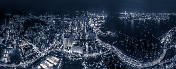 Fotomurales - Hong Kong night view in Black and white