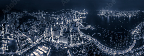Wall mural Hong Kong night view in Black and white