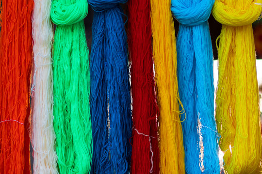 Dyeing traditional handmade silk Silk dyed with different colors