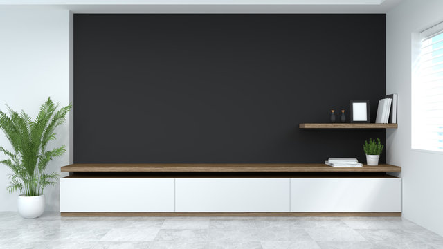 modern Tv wood cabinet shelf in empty room interior background  3d rendering home designs,background shelves and books on the desk in front of empty wall clean modern home design