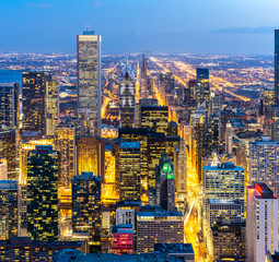 Wall Mural - Aerial view of Chicago Skylines South
