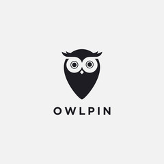 Acrylic Prints Owls cartoon Modern minimalist logo of Owl Map Pin Location