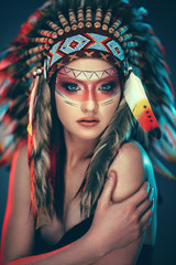 Young Indian American female with headdress