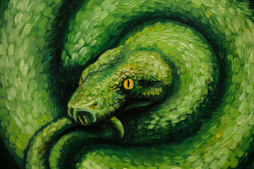 Oil painting,  snake, handmade
