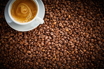 Roasted coffee bean background texture