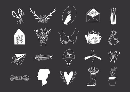Various simple, elegant and bohemian icons. Hand drawn vector set. Detecoration for brand or shop logos, wedding albums, web pages, restaurant menus. White elements. Everything is isolated