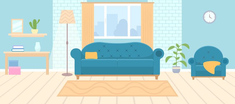 Living room interior with furniture and window. living-room. Table, shelf, sofa, floor lamp, sofa, armchair, indoor plant, Vector illustration