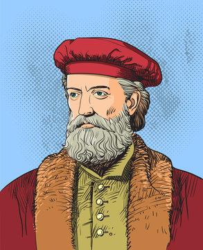 Marco Polo portrait in line art illustration