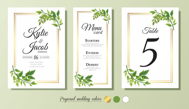 Wedding Invitation, menu, table number card. Floral design with green and gold watercolor leaves, foliage greenery decorative frame print. Vector elegant cute rustic greeting, invite, postcard