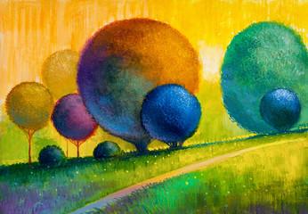 Abstrakcyjny obraz z drzewami