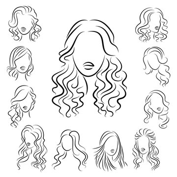 Collection. Silhouette profile of a cute lady s head. The girl shows her hairstyle for medium and long hair. Suitable for logo, advertising. Vector illustration set
