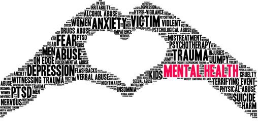 Fototapeta Mental Health Word Cloud on a white background.  obraz