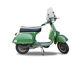Photo sur Toile Scooter Green Italian classic scooter isolated on white
