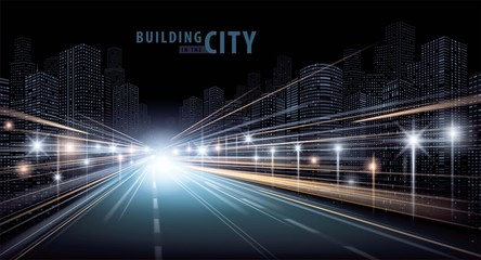 Fotomurales - The light trails on the road and modern building vector