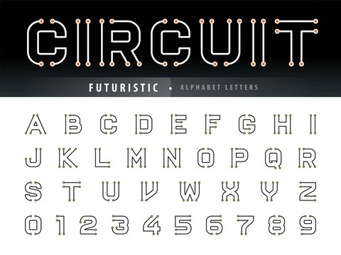 Vector of Circuit Alphabet Letters and numbers, Future Techno stylized fonts