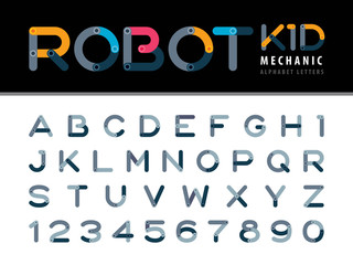 Vector of Modern Robot and Mechanic Alphabet Letters and numbers