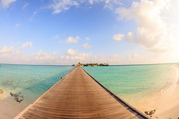 A wonderful sunset in the Maldives. A beautiful landscape and sea