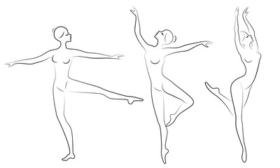 Collection. Silhouette of a cute lady, she is dancing ballet. The girl has a slim beautiful figure. Woman ballerina. Vector illustration set