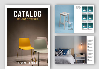 Catalog Layout with Black and White Accents