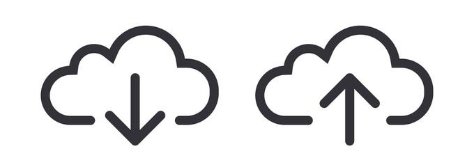 Upload download cloud arrow vector line art icon symbol