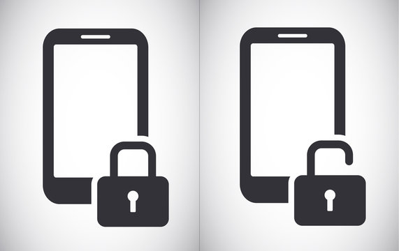 Locked and unlocked smartphone tablet security vector icon symbol
