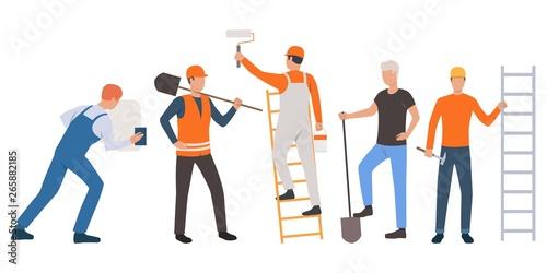 Set of builders, painter, plasterer and handymen working