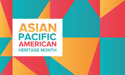Asian Pacific American Heritage Month. Celebrated in May. It celebrates the culture, traditions, and history of Asian Americans and Pacific Islanders in the United States. Poster, card, banner. Vector Wall mural